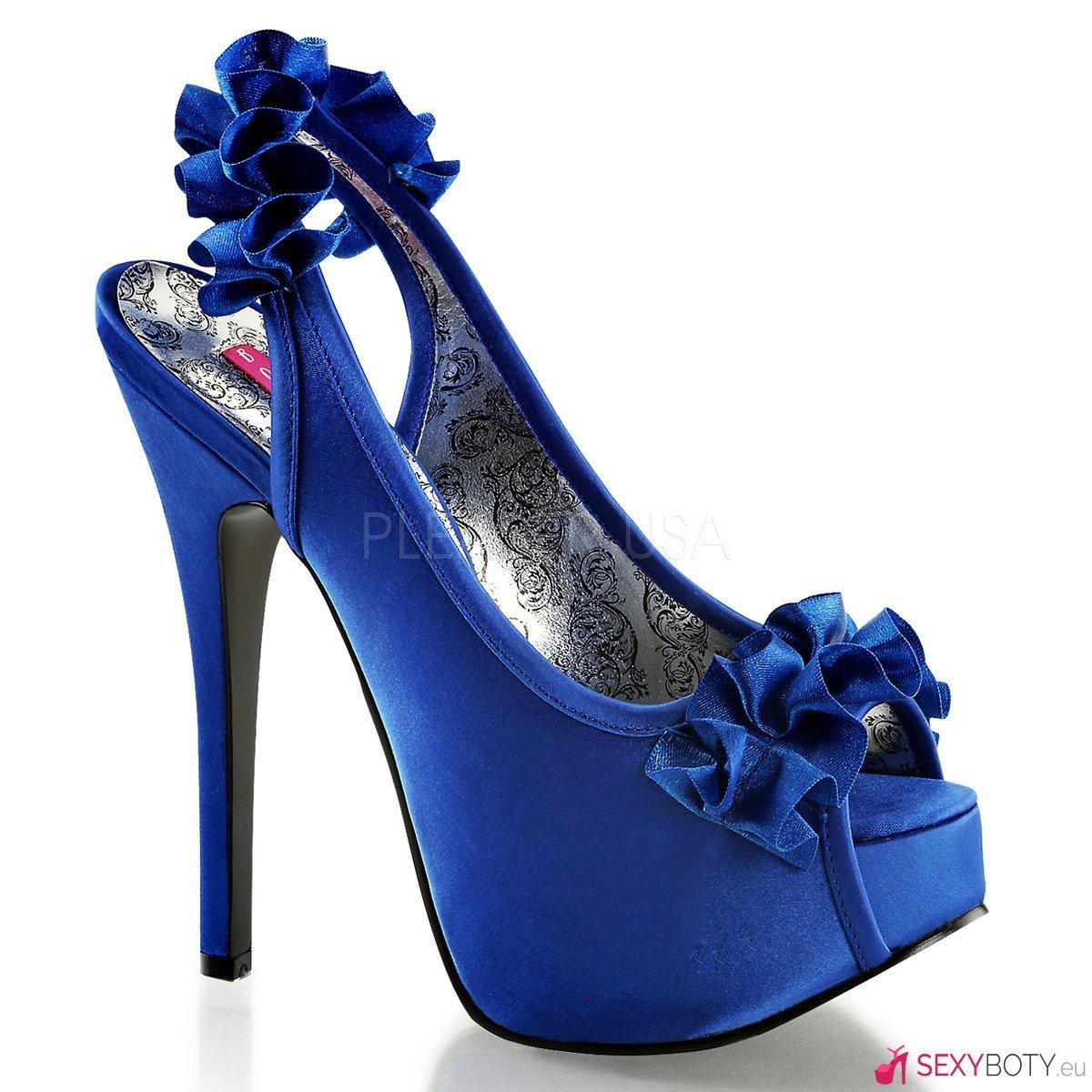 TEE56 NBSA Modré saténové sexy lodičky  6341506aa1