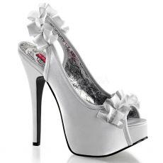TEEZE-56 Elegantní stříbrné dámské lodičky na vysokém podpatku