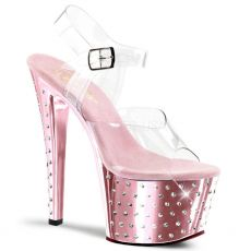 STARDUST-708 Růžové/průhledné pole dance taneční sexy boty na podpatku a platformě