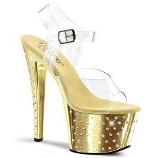 STARDUST-708 Zlaté/průhledné pole dance taneční sexy boty na podpatku a platformě