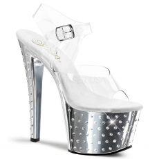 STDUS708/C/SCH Stříbrné sexy sandály na vysokém podpatku