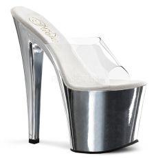 TABOO-701 Vysoké stříbrné/průhledné sexy pantofle na podpatku a platformě