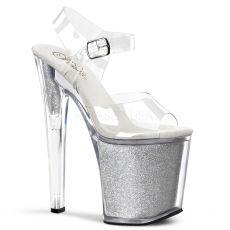 XTREME-808G Sexy stříbrné/průhledné boty na vysokém podpatku a platformě