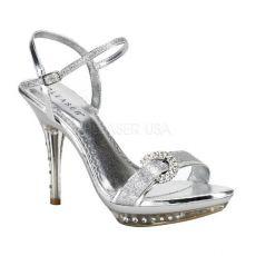 MONET-09 Stříbrné plesové boty na podpatku