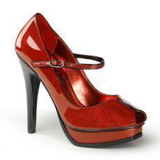 PLEASURE-02G Červené dámské lodičky na podpatku a platformě