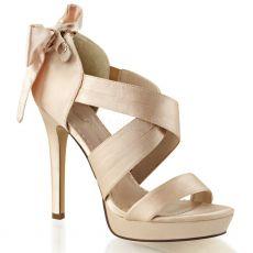 LUMINA29/CHASA Bézové svatební páskové boty na podpatku