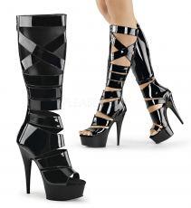 DELIGHT-600-49 Páskové černé sexy kozačky pod kolena