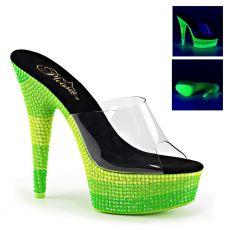 DELIGHT-601UVS Zelené dámské pantofle sexy svítící boty