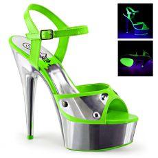 DELIGHT-609NC Zelené dámské sandály sexy svítící boty