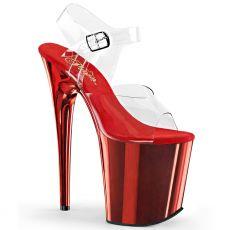 FLAMINGO-808 Červené sandály na extra vysokém podpatku