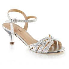 AUDREY-03 Stříbrné společenské sandály na nízkém podpatku