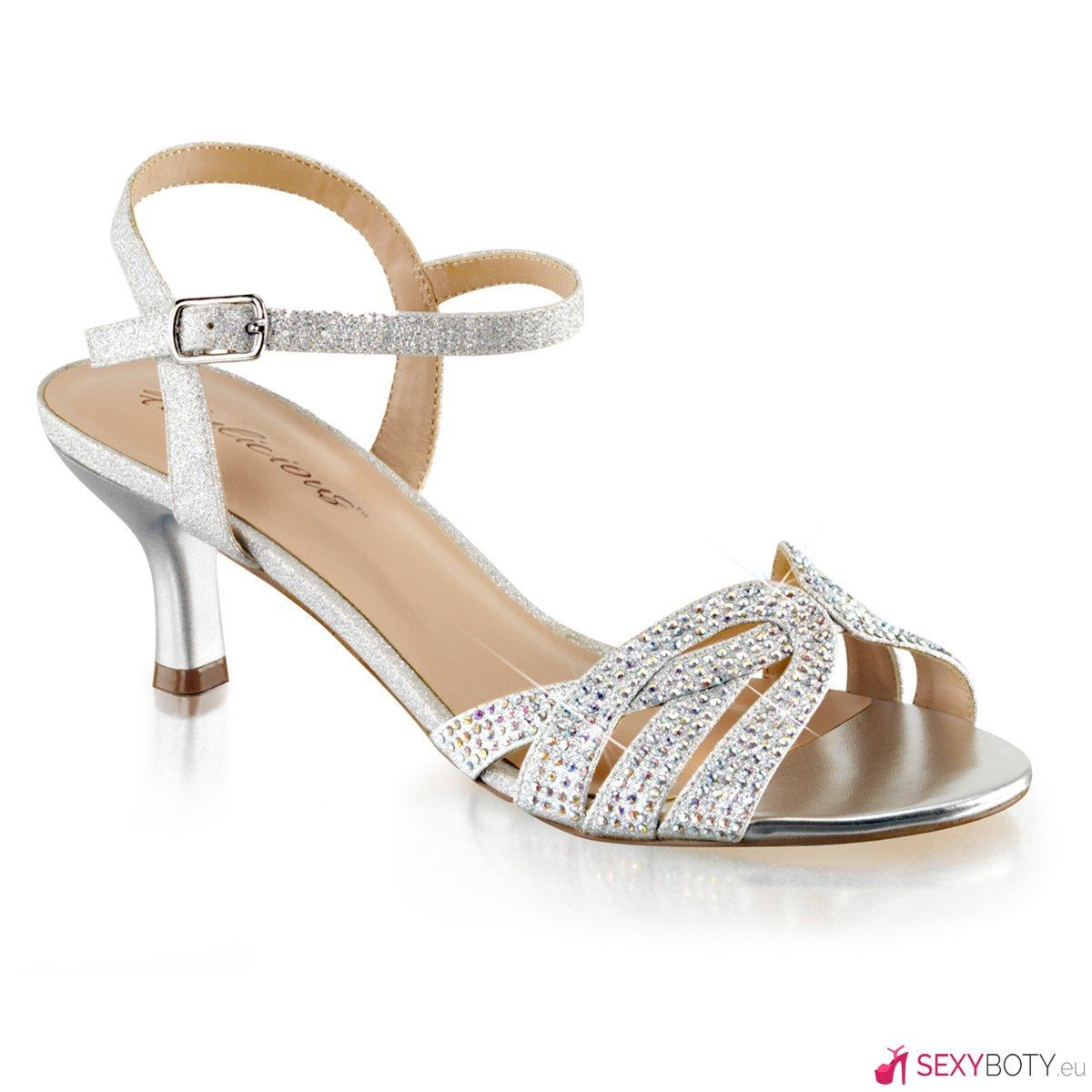 49a56b4a399 AUD03 SFA Páskové stříbrné společenské sandály na nízkém podpatku ...