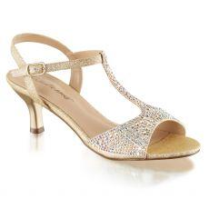 AUDREY-05 Béžové společenské sandály na nízkém podpatku