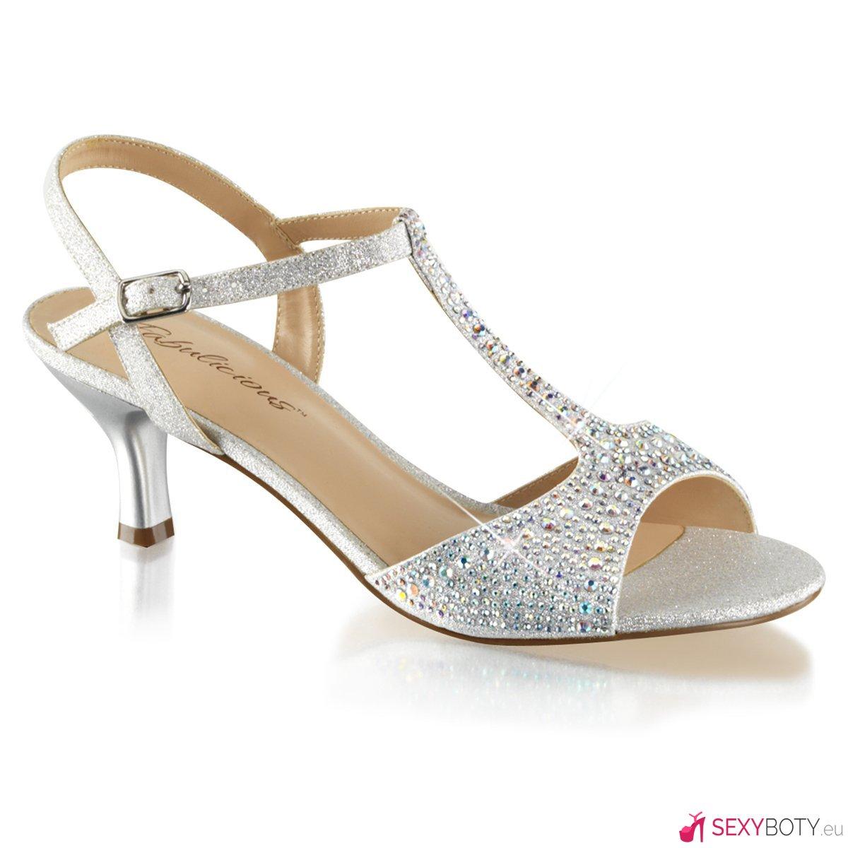 AUD05 SFA Stříbrné společenské sandály na nízkém podpatku  c5865942cf