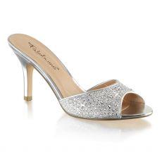 LUCY01/SGFA Stříbrné pantofle na podpatku
