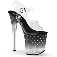 STDUS808T/C/B-C Černé extra vysoké taneční sandály na podpatku