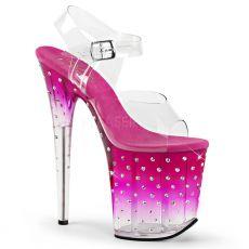 STDUS808T/C/PNK-C Růžové extra vysoké taneční sandály na podpatku