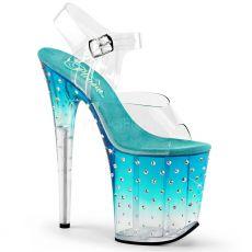 STDUS808T/C/TL-C Světle modré extra vysoké taneční sandály na podpatku