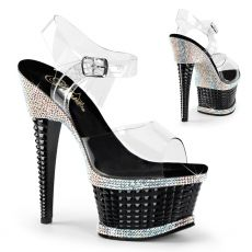 ILLUSION-658RS Luxusní černé sexy boty na vysokém podpatku