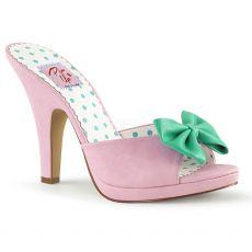 SIREN-03 Růžové vintage pantofle na podpatku