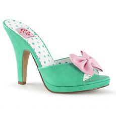 SIREN-03 Tyrkysové vintage pantofle na podpatku