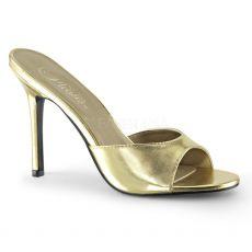 CLASSIQUE-01 Zlaté pantofle na vysokém jehlovém podpatku