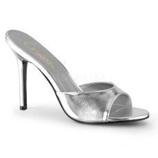 CLASSIQUE-01 Stříbrné pantofle na vysokém jehlovém podpatku