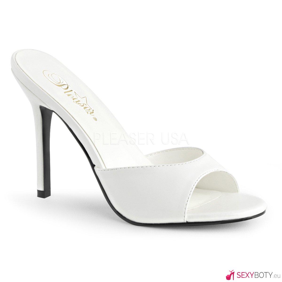 cc5ee465b5d CLASSIQUE-01 Bílé pantofle na vysokém jehlovém podpatku