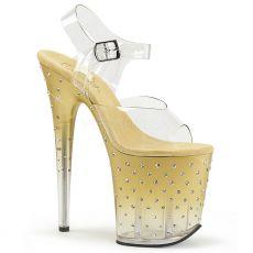 STARDUST-808T Sexy extra vysoké boty zlato průhledné