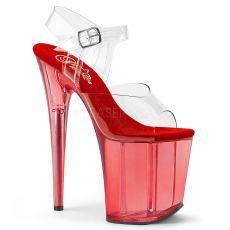 FLAMINGO-808T Červené sandály na extra podpatku