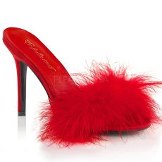 CLASSIQUE-01F Červené pantoflíčky s chmýřím