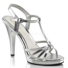 FLAIR-420 Stříbrné svatební sandálky na vysokém podpatku