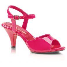 BELLE-309 Růžové plesové sandály na nízkém podpatku