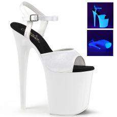 FLAMINGO-809UV Extra vysoké bílé svítící sexy boty