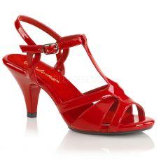 BELLE-322 Společenské červené sandály na nízkém podpatku