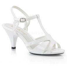 BELLE-322 Svatební bílé sandály na nízkém podpatku