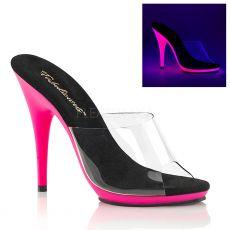 POISE-501UV Růžové svítící pózovací pantofle na vysokém podpatku