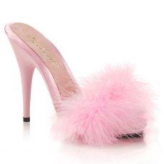 POISE-501F Růžové pantoflíčky s chmýřím