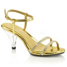 BELLE-316 Páskové zlaté sandály na nízkém podpatku