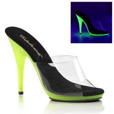POISE-501UV Lime svítící pózovací pantofle na vysokém podpatku