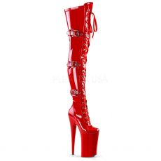 BEYOND-3028 Červené kozačky nad kolena na nejvyšším podpatku