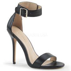 AMUSE-10 Elegantní černé sandály na jehlovém podpatku