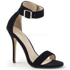 AMUSE-10 Semišové černé sandály na jehlovém podpatku