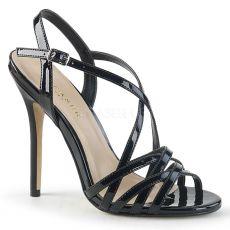 AMUSE-13 Páskové černé sandály na jehle