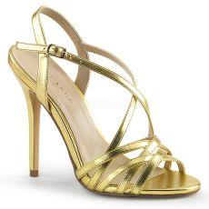 AMUSE-13 Zlaté páskové boty na jehlovém podpatku