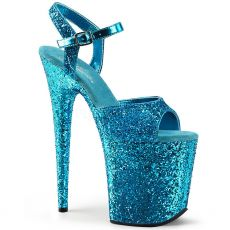 FLAMINGO-810LG Azurové sexy boty na extra vysokém podpatku