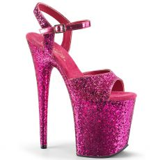 FLAMINGO-810LG Růžové sexy boty na extra vysokém podpatku a platformě