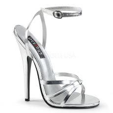 DOMINA-108 Stříbrné erotické sandálky na extrémně vysokém podpatku