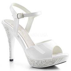 ELEGANT-409 Elegantní bílé svatební sandály na podpatku a platformě