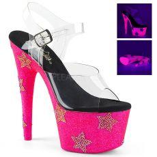 ADORE-708STAR Růžové luxusní sexy boty s hvězdami